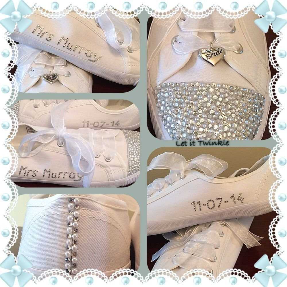 fc7d54242687 Bridal Wedding Shoes trainers pumps Personalised Size 3-8  Laceup