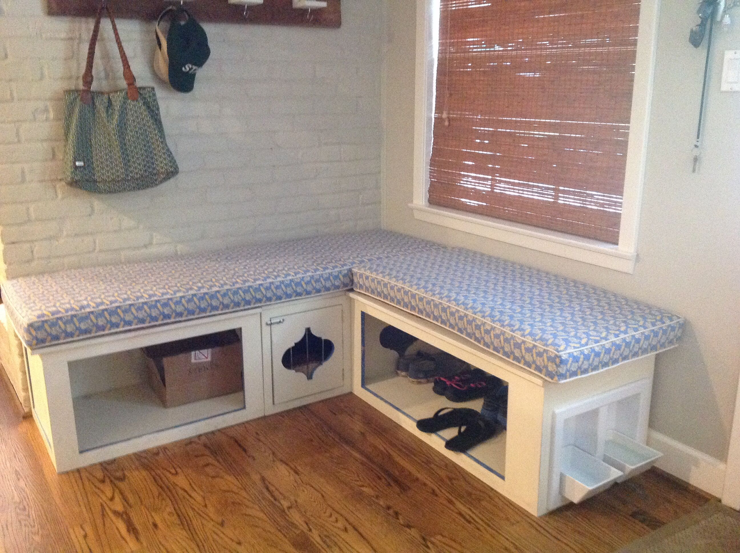 Mud Room Bench Storage With Built In Dog Bowls And Crate