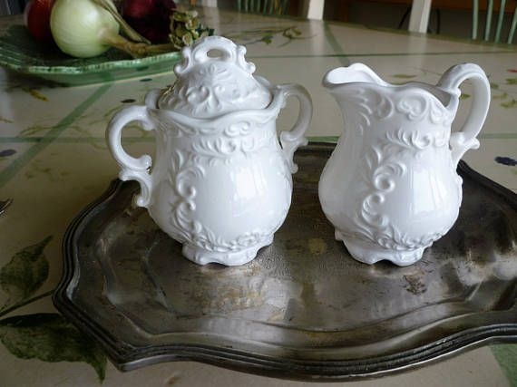 Creamer and Sugar Set with Lid Vintage National Potteries Co Clevland