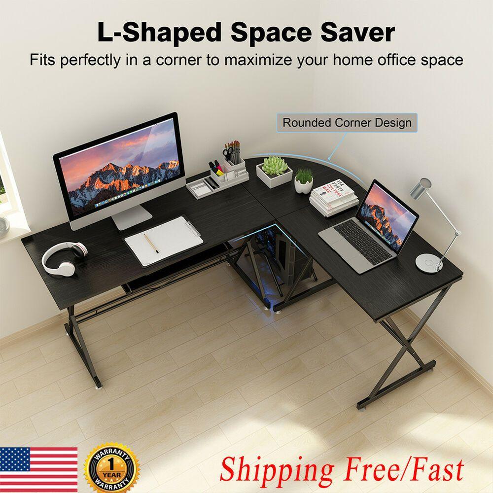 New L Shaped Corner Desk Office Computer Desk Study Workstation W Keyboard Tray Affilink Desk Deskset L Shaped Corner Desk Home Office Computer Desk Pc Desk
