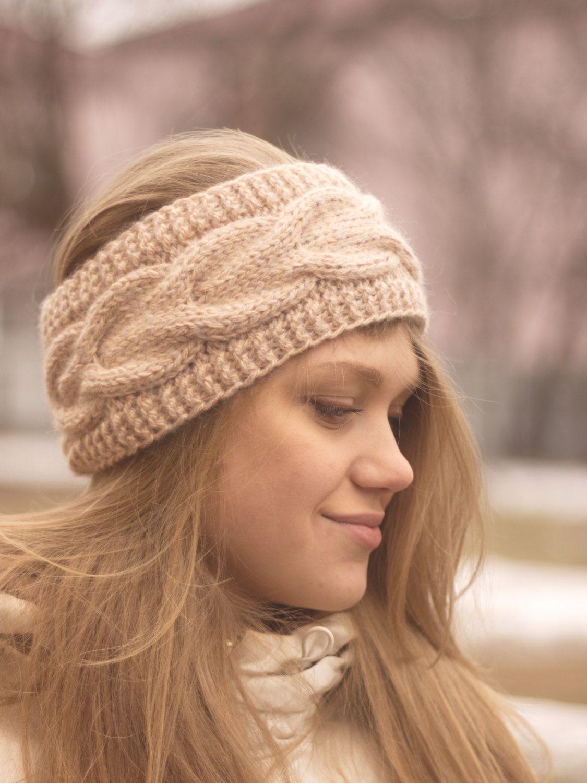 Knitted Headband Ear Warmer Cable headband Fall Hair Band Turban
