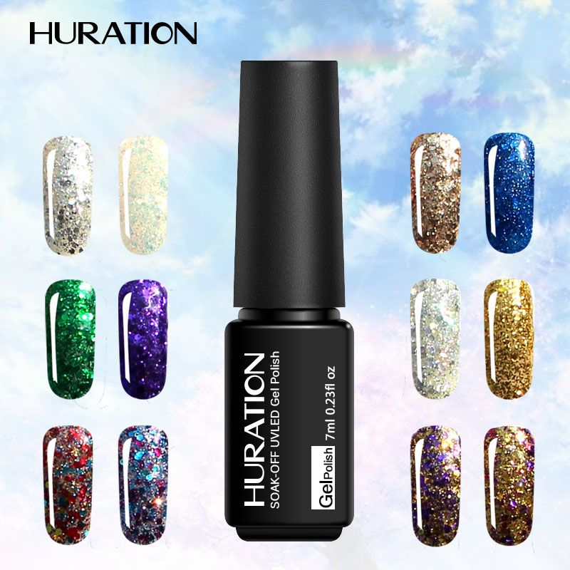 Huration 3D Diamond Gel Polish Hot Sale Sequins Gel Nail Lacquer ...