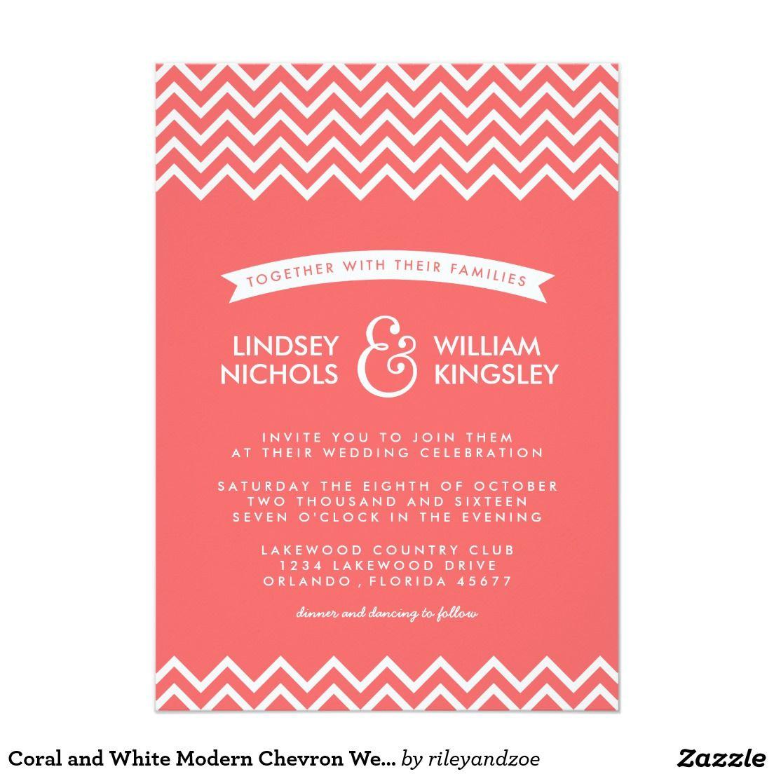 Coral and White Modern Chevron Wedding Invitation | Pinterest ...