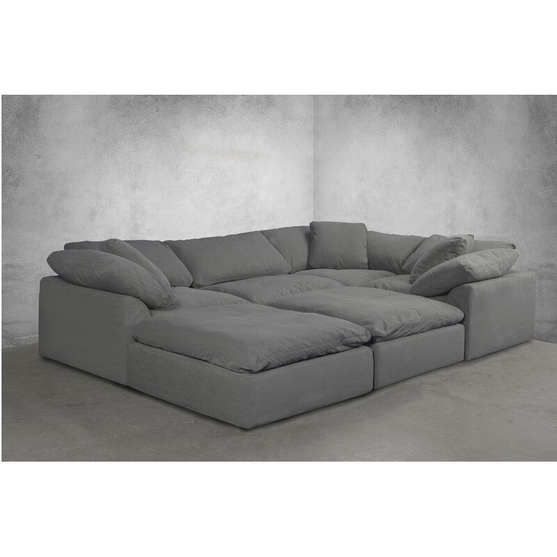 Mielke 132 Reversible Modular Corner Sectional With Ottoman In 2020 Sectional Sofa Grey Sectional Comfy Couch