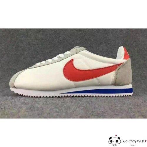 1e8b2f89246 Nike Classic Cortez Running Shoes Womens Mens White Red Blue Nylon - Cortez