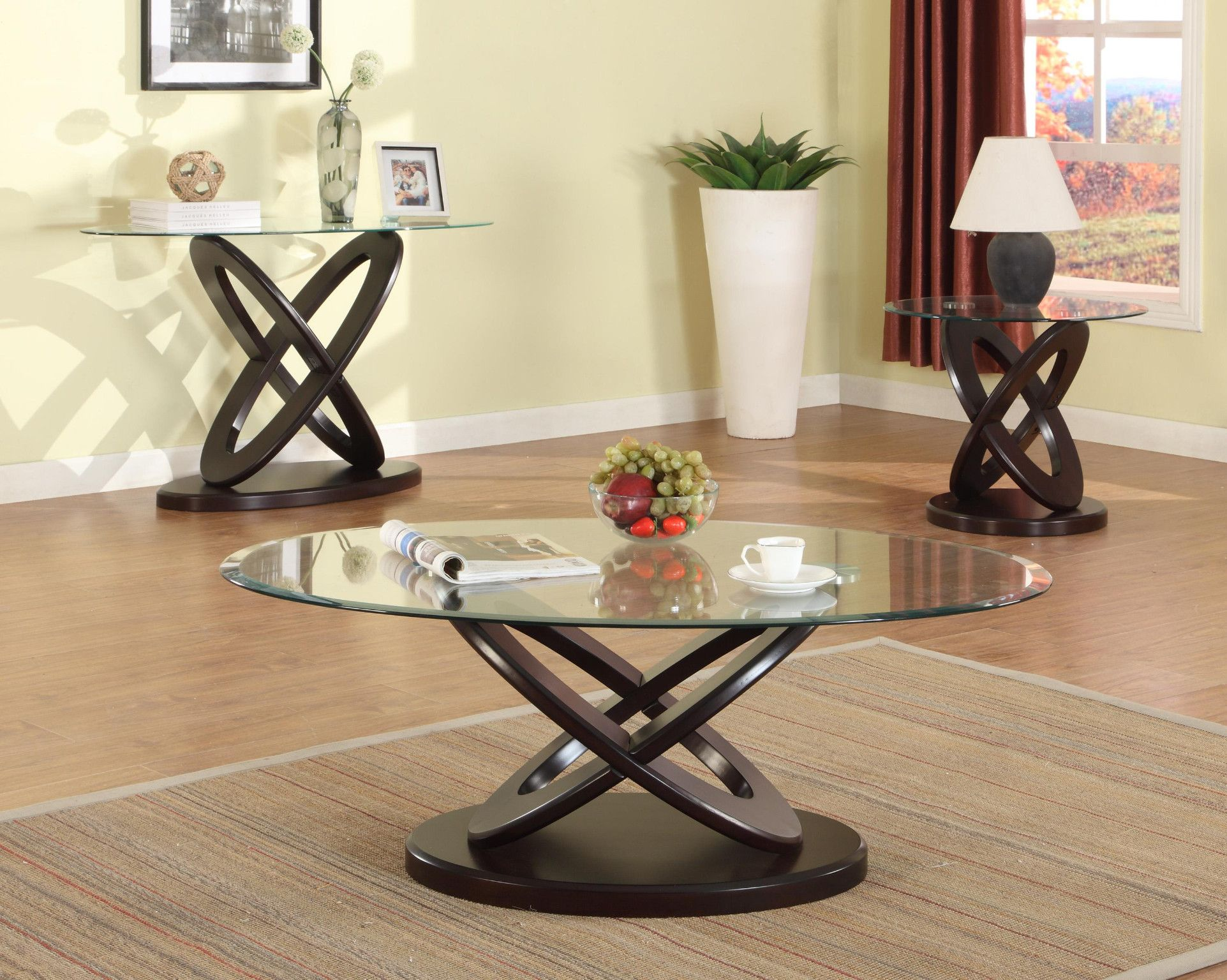 Cyclone 3 Piece Table Set Glass Top Coffee And 2 End Tables 499 00 Coffee Table 48 X Round Coffee Table Sets Coffee Table Setting Sleek Coffee Table