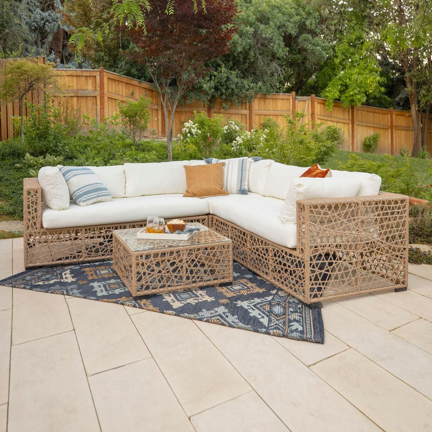 Fremont 4 Piece Wicker Patio Sectional Set W Natural Cushions By