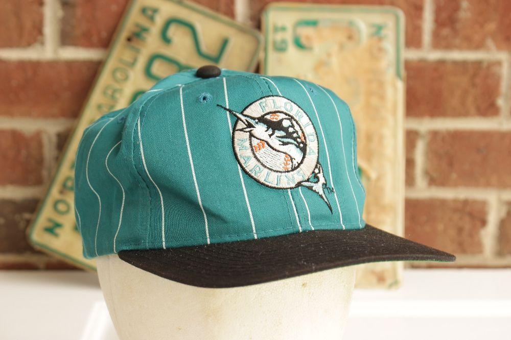 9773300364561 Vintage Florida Marlins Hat Starter Cap Snapback Pinstripe Green Black  Retro  Starter  BaseballCap