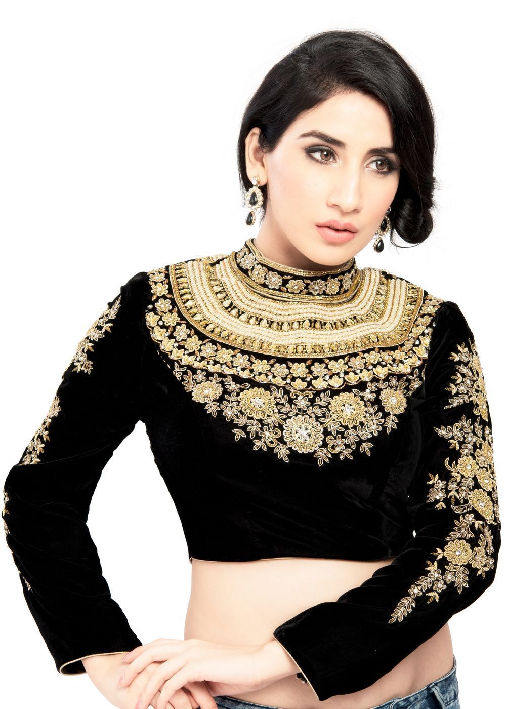 0d0e8e665915c9 Maharana Full Sleeve Black Velvet Saree Blouse Sari Choli Crop Top - KP-72