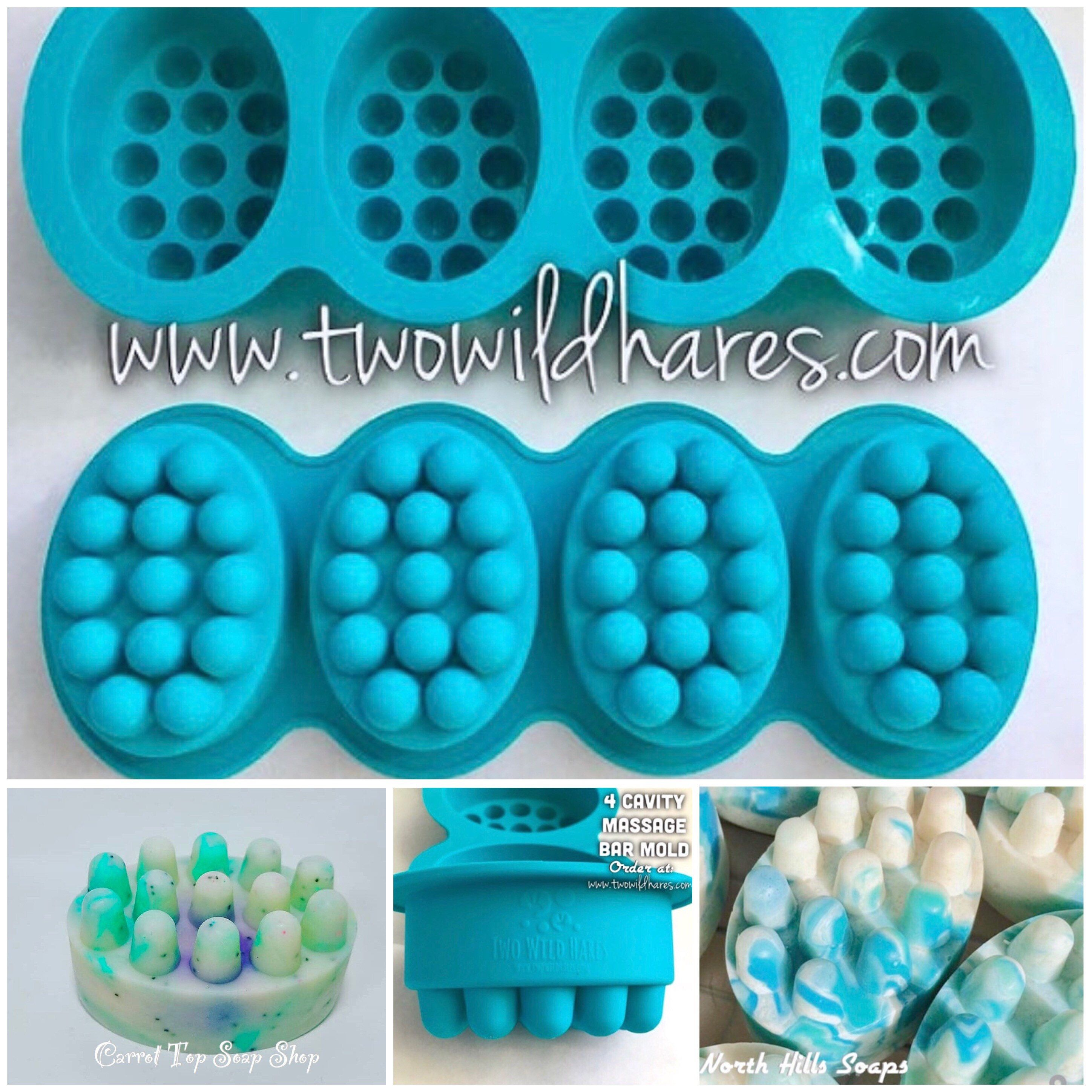 Massage Bar Silicone Soap Mold 4 4 5 Oz Cavities Professional Grade Mold Free Us Ship Two Wild Hares Massage Bars Soap Molds Silicone Soap