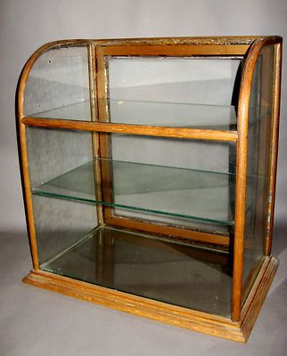 Late19th Century Antique Oak Curved Glass Mercantile