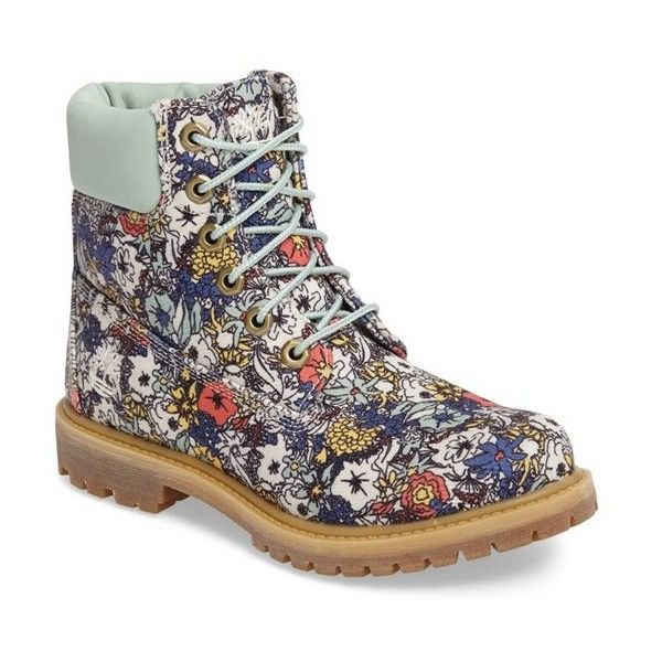 5002550a2596 Women s Timberland 6 Inch Premium Floral Print Boot ( 150) ❤ liked on  Polyvore featuring shoes