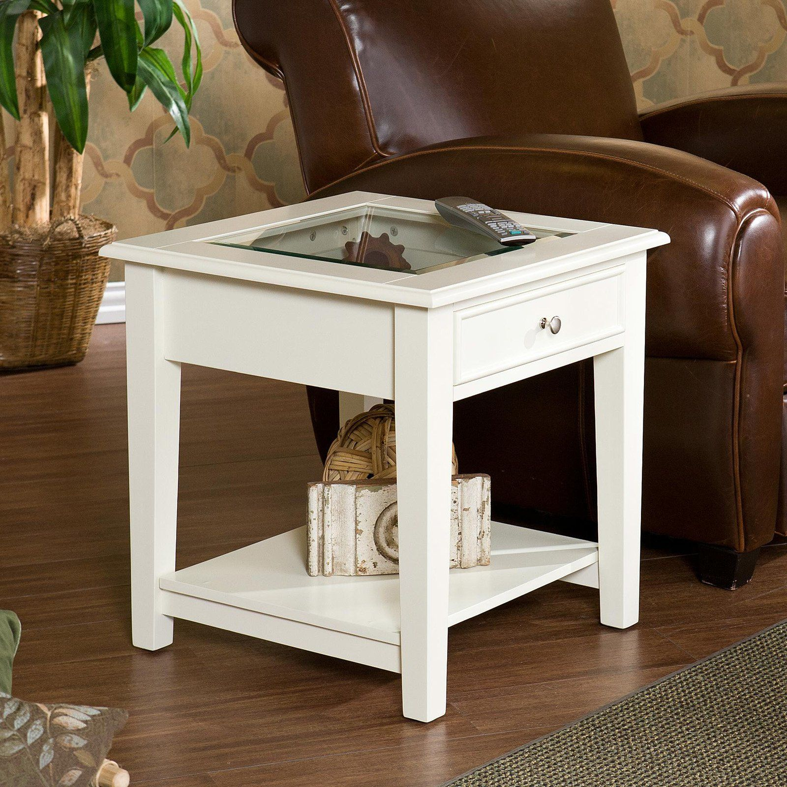 Southern Enterprises Panorama End Table Off White White End