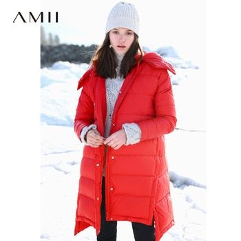 b9b140313833 Amii Minimalist Printed Down Jacket Winter 2018 Casual Thick Asymmetrical  Pockets Side Slit Hooded Down Coat Parkas