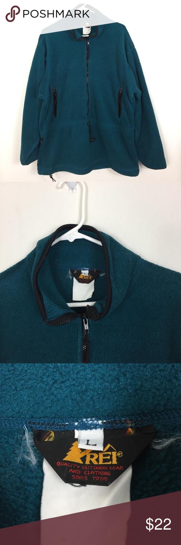 94b15d8c666 Men s L REI USA MADE Green Fleece 1 2 Zip Sweater Item  Men s Large ...