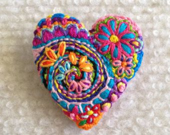 Freeform embroidery heart brooch  Brooch #122