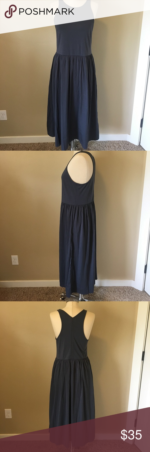 """Lou & Grey Mediamix Midi Dress Suedes jersey bodice, airy woven crinkle skirt. Round neck, Racerback, 28.5"""" from natural waist. Lou & Grey Dresses"""