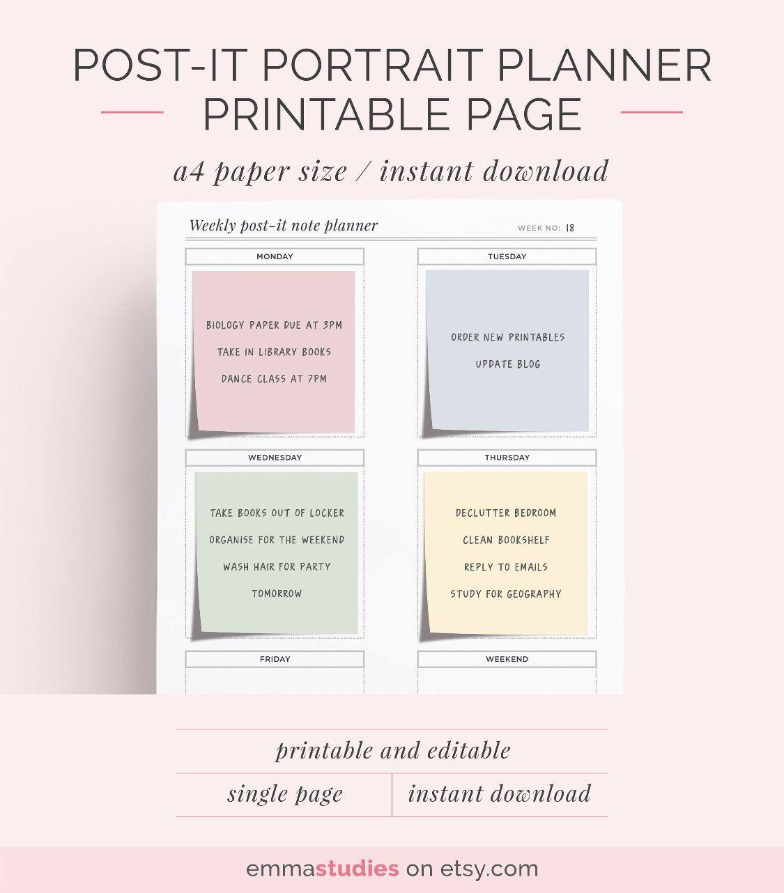 Post It Portrait Planner Emmastudies Com Page 1 Weekly Planner Printable Printable Planner Weekly Planner