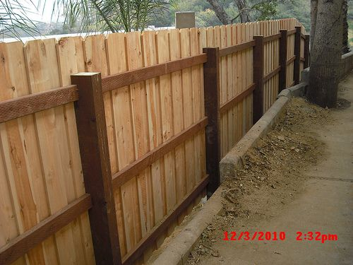 Custom Board On Board Overlap Cedar Dog Ear Fence With 4x6 Posts