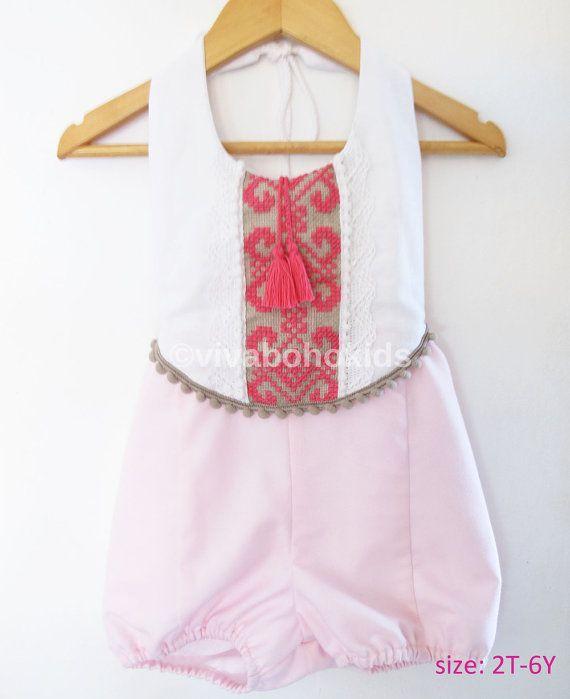d4173f0b1 Pink/ Fuchsia Baby Tassel Romper/ Linen Boho Chic by VivaBohoKids ...