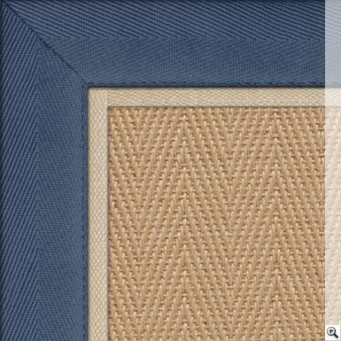 Jute Herringbone Rug Border Cotton Herringbone Blue