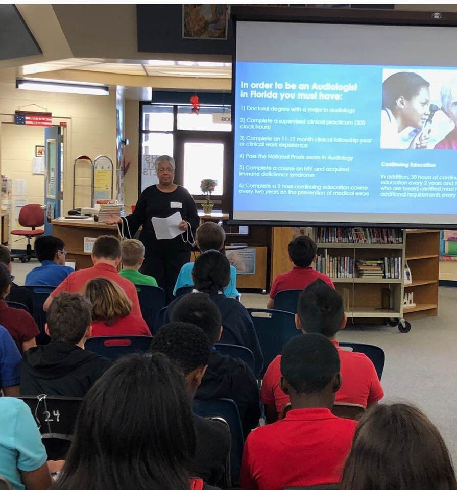 Audiologist Dr Andrea Livingston At A Middle School Career Day March