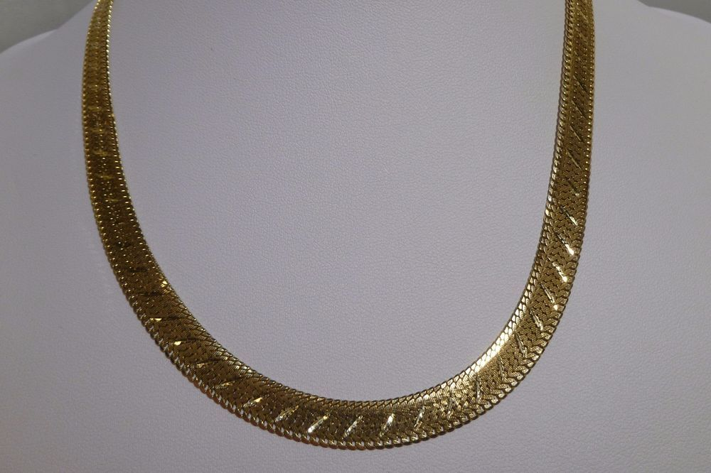 356bfbef5 14k Solid Gold Reversible Herringbone Chain Necklace Diamond Cut 22.1 Grams  #Handmade #Chain