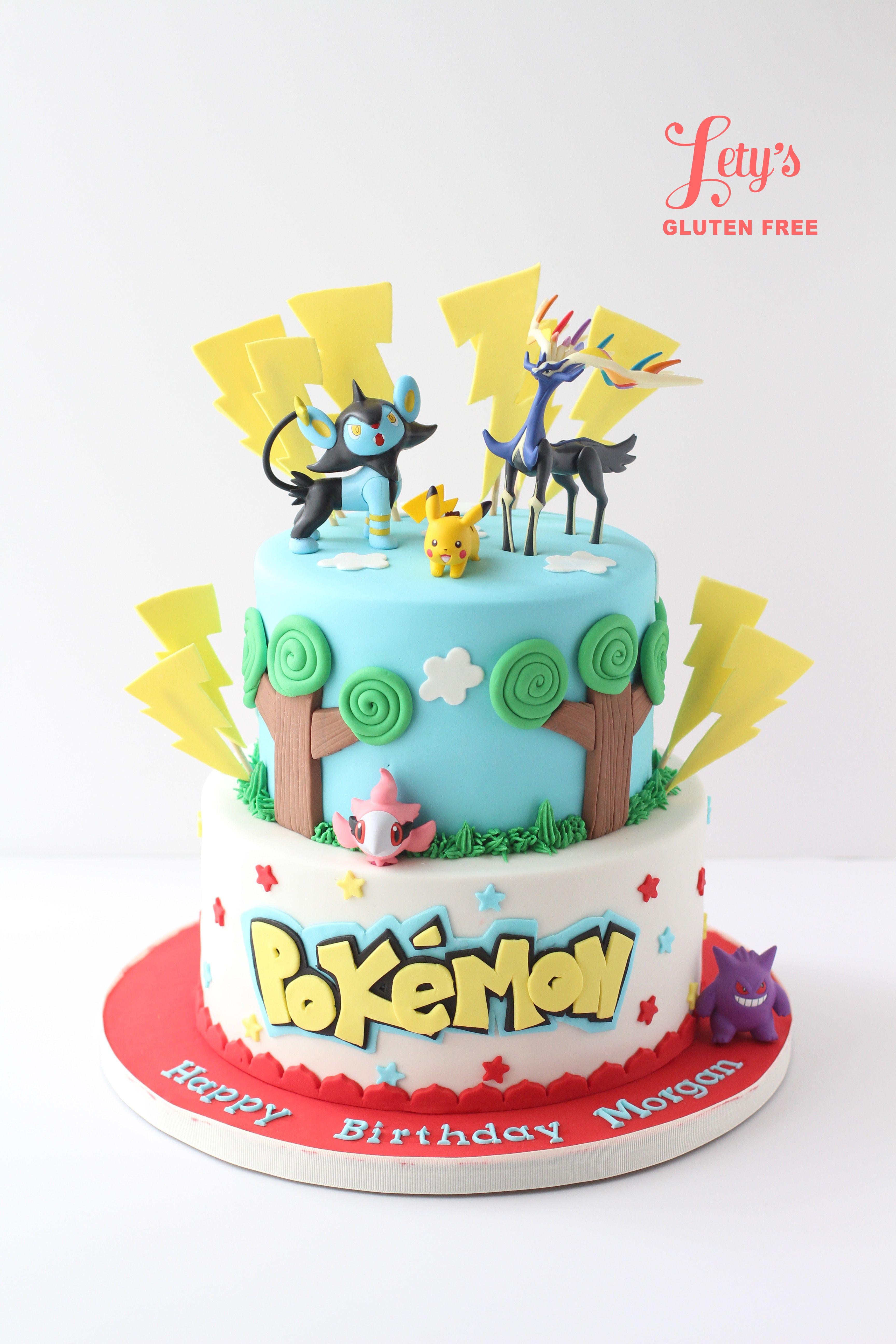 Two Tier Pokemon Theme Birthday Cake With Figures Original Design By Three Sweeties Made Letys Gluten Free Houston TX
