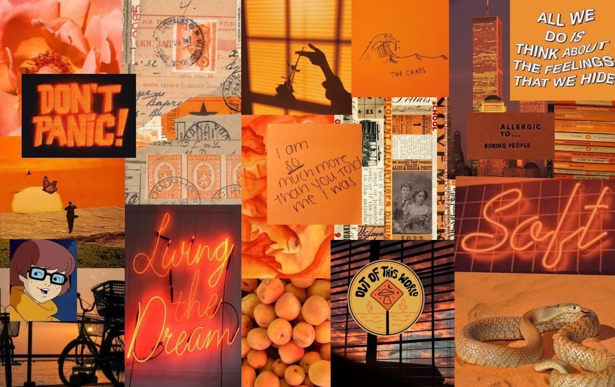 Orange Themed Aesthetic Collage In 2020 Cute Laptop Wallpaper Aesthetic Desktop Wallpaper Fall Wallpaper
