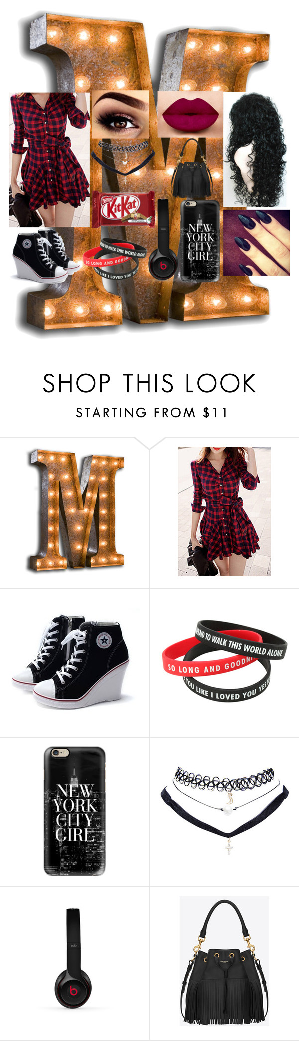 """""""Look#106"""" by allicefaleta ❤ liked on Polyvore featuring Vintage Marquee Lights, Casetify, Wet Seal, Beats by Dr. Dre and Yves Saint Laurent"""