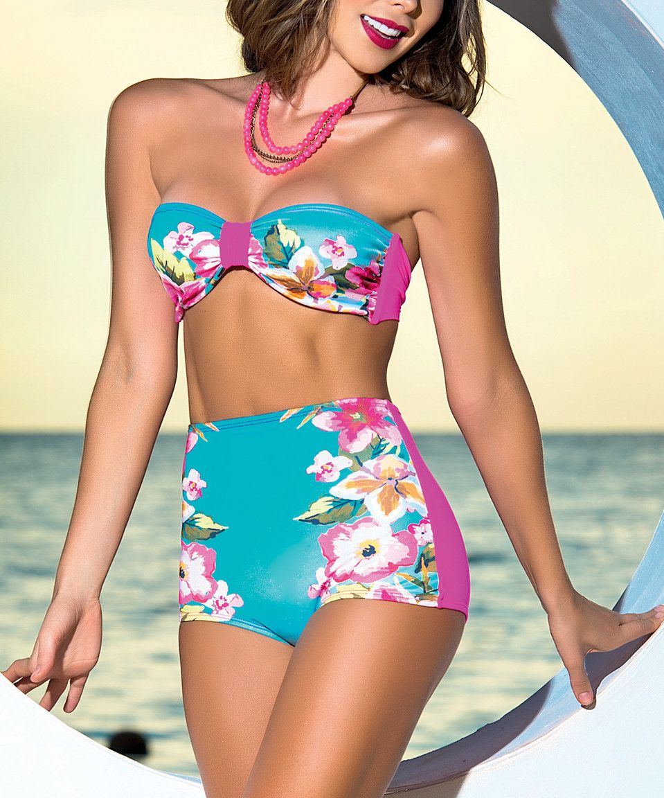 24faa4b2cc Swimsuits for Women: Sexy Swimsuits & Swimwear. Another great find on # zulily! AM PM Pink & Aqua Floral Bandeau Bikini by AM PM #zulilyfinds