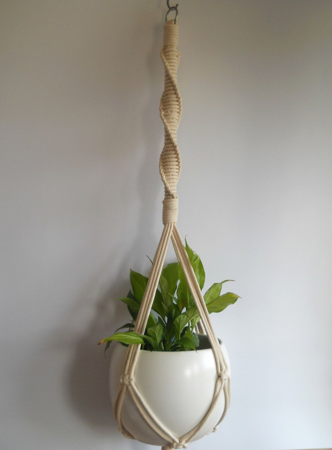 twine macrame plant hanger indoor plant by madebymiculinko on etsy