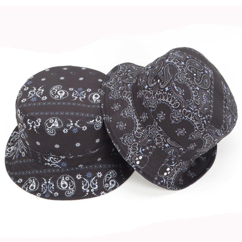 141b1daa7fbec5 Paisley Flowers Skull Black Women Men Bucket Hat Fishing Outdoor Hunting  Sun Cap #Goldtop #Bucket
