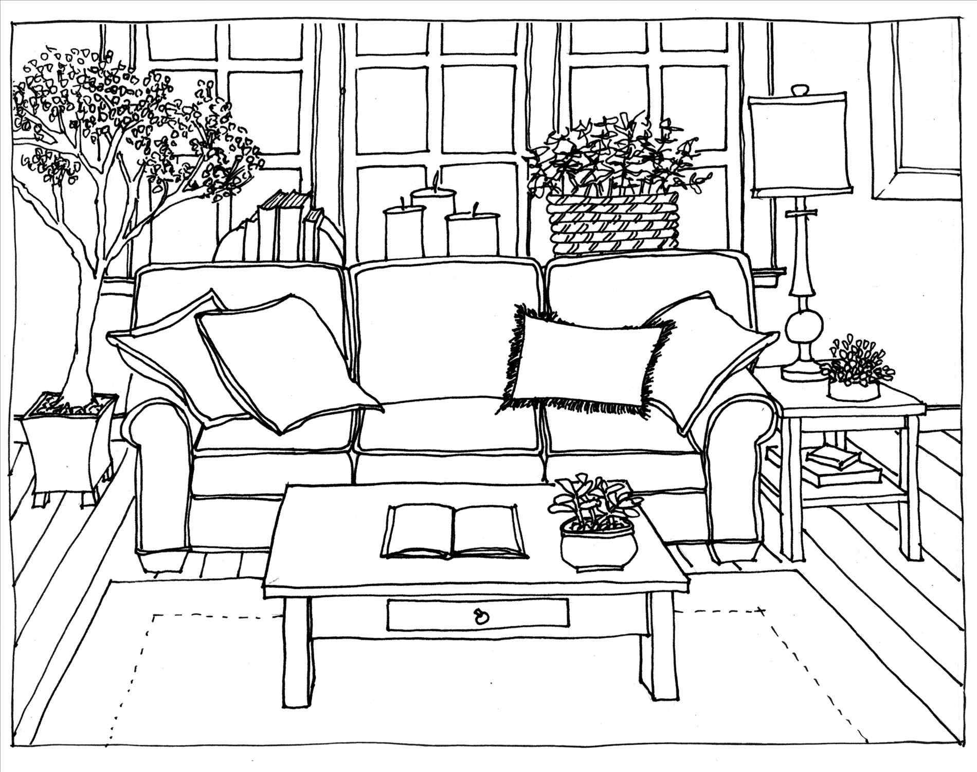 Fancy Couch Drawing Interior Design Sketches Bedroom Drawing