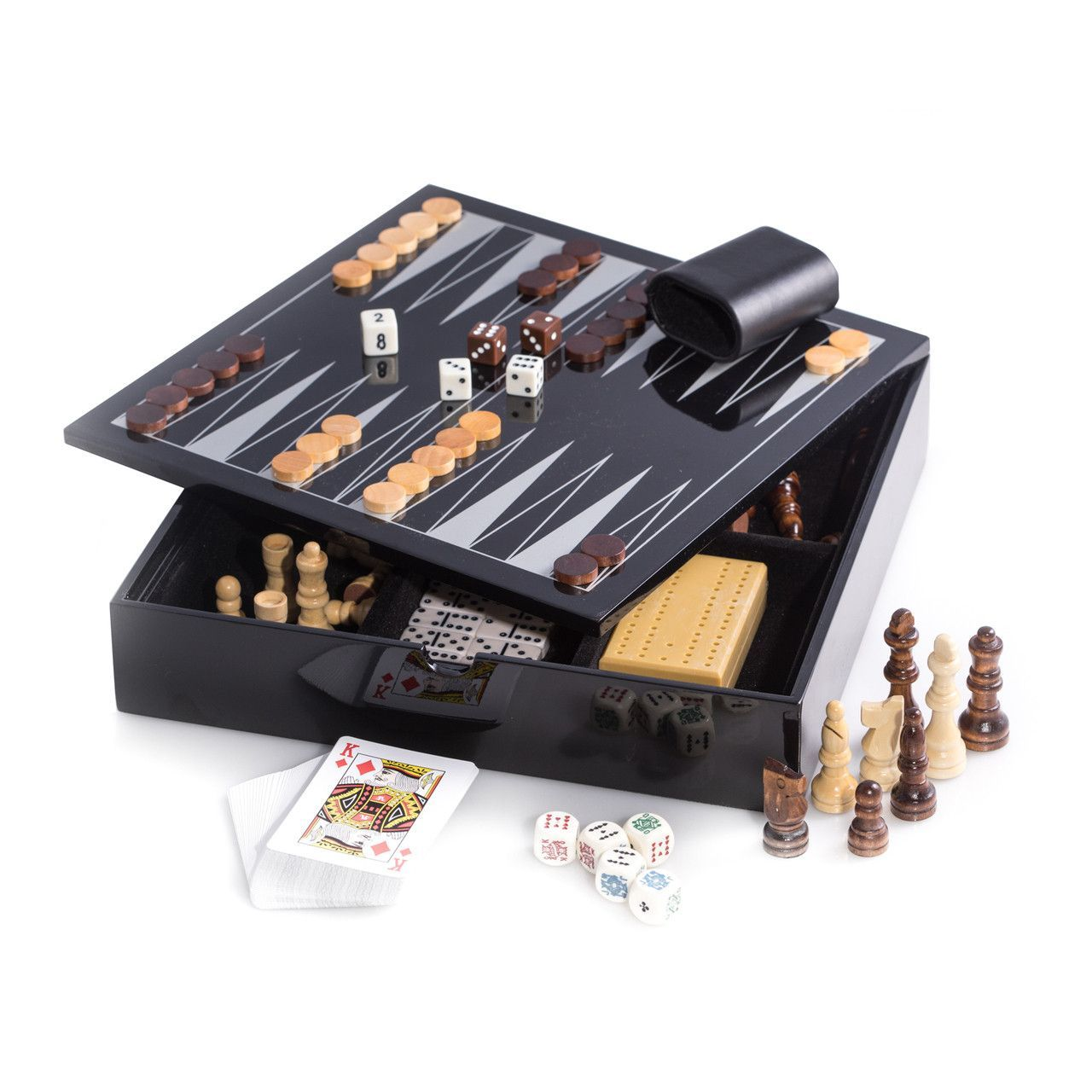 Black Lacquered Wood 51 Game Set Includes Chess and