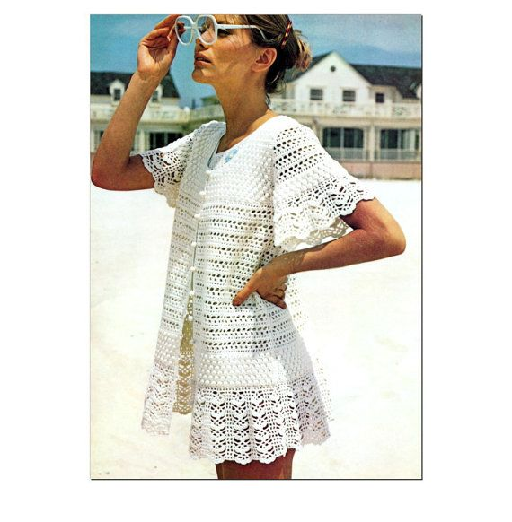Vintage Crochet Pattern 1970s Baby Doll Mini Dress Lacy Beach Cover ...
