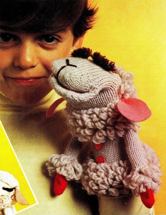 Lamb Chop Glove Puppet Knitting and Crochet Pattern ...