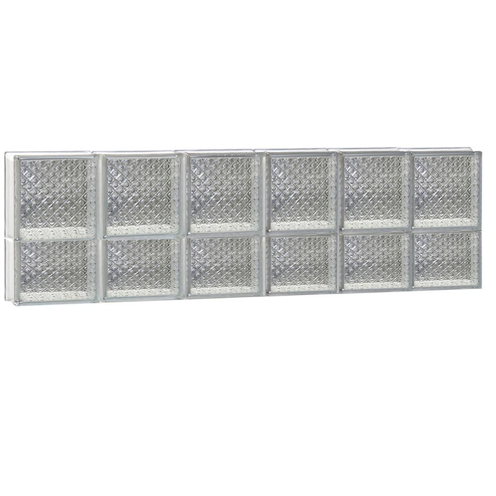 Clearly Secure 46.5 in. x 13.5 in. x 3.125 in. Diamond Pattern Non-Vented Glass Block Window
