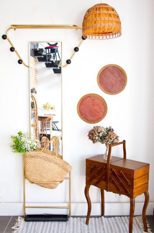 Vintage coat rack with mirror in gold metal – Mes Petit …