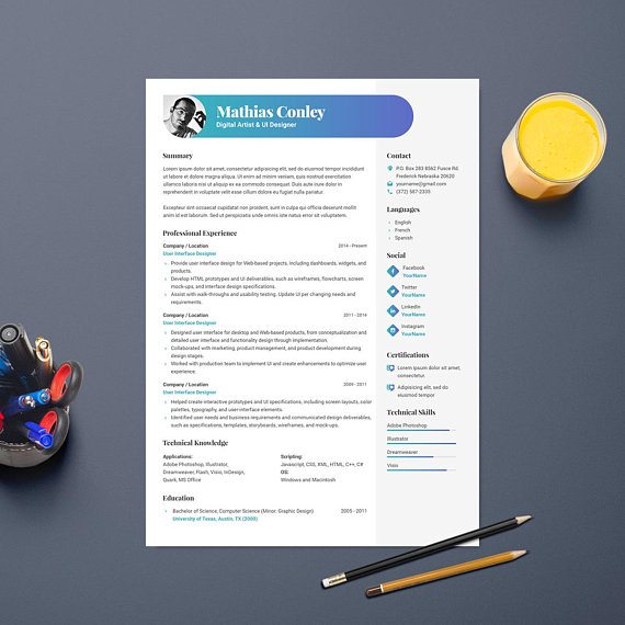 Graphic Resume Template With Photo / CV Template + Cover
