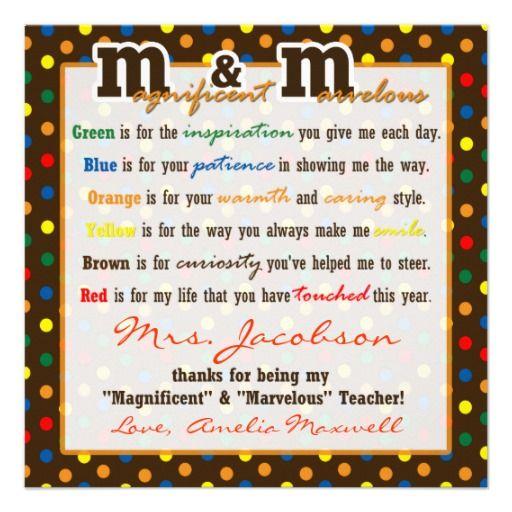 Teacher Appreciation Gift M Poem gift tag Custom ...