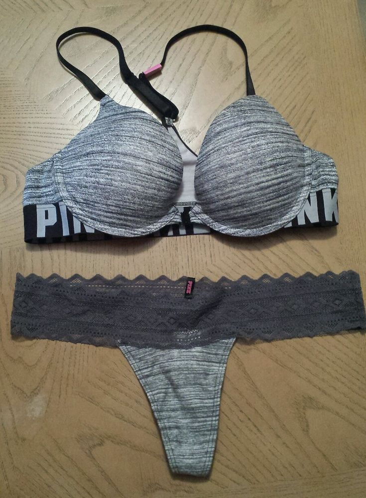 289a6263d59934 Victorias Secret PINK Logo Razor Back Push Up Bra 36B   Gray Marl Thong Set  NWT  VictoriasSecret  PushUpBras