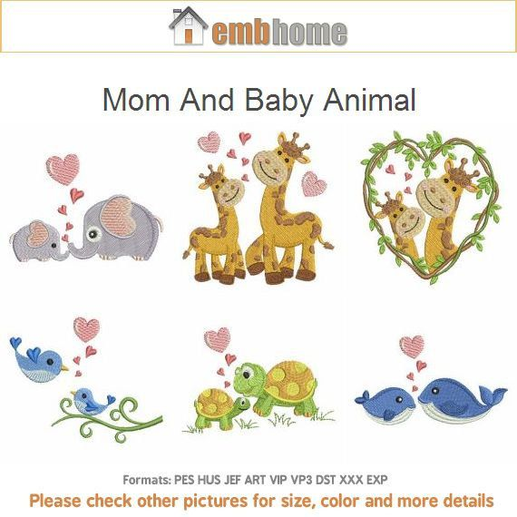 Mom and baby animal machine embroidery designs instant by