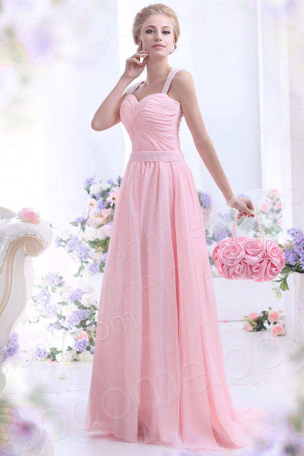 Sweet sheathcolumn straps sweepbrush train chiffon primrose pink