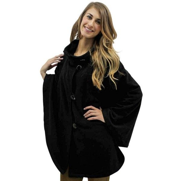 Black Fleece 3 Button Poncho Shawl Cloak ($49) ❤ liked on Polyvore featuring outerwear, black, poncho shawls, button poncho, poncho shawl, shawl poncho, long shawl and long poncho