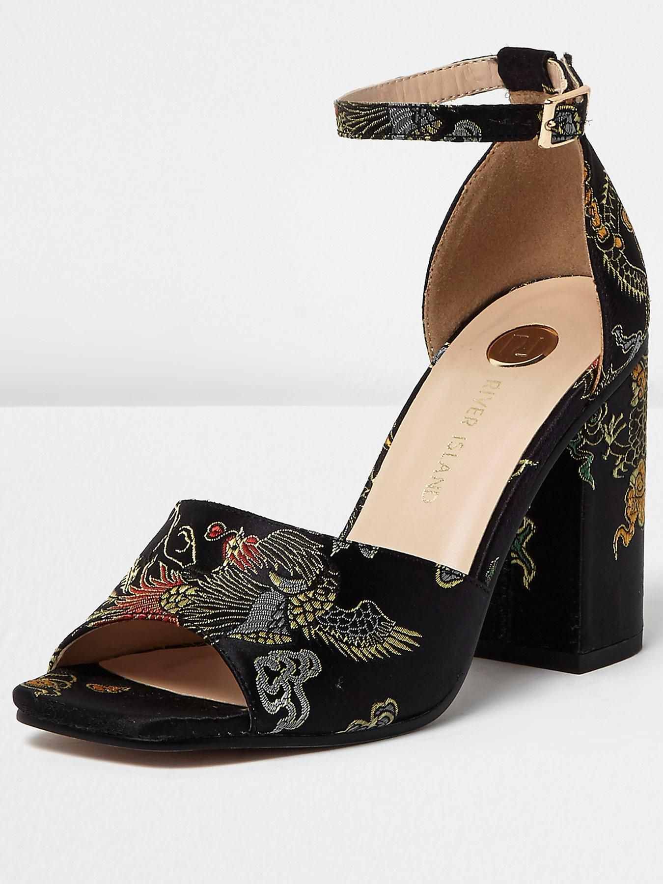 River Island Embroidered Block Heel Sandals Bringing their own retro  revival into your wardrobe this season