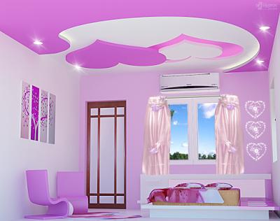 False Ceiling Pop Designs For Girls Bedroom Interiors