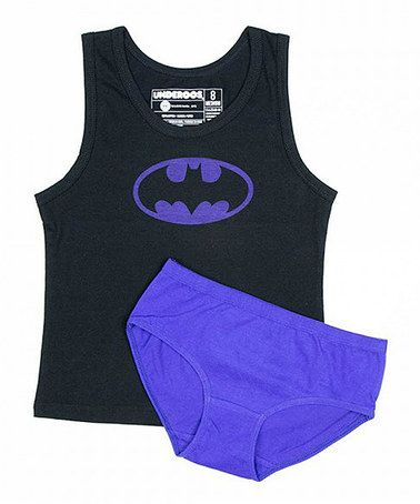 Another great find on #zulily! Purple & Black Batman Tank & Underoos - Girls #zulilyfinds