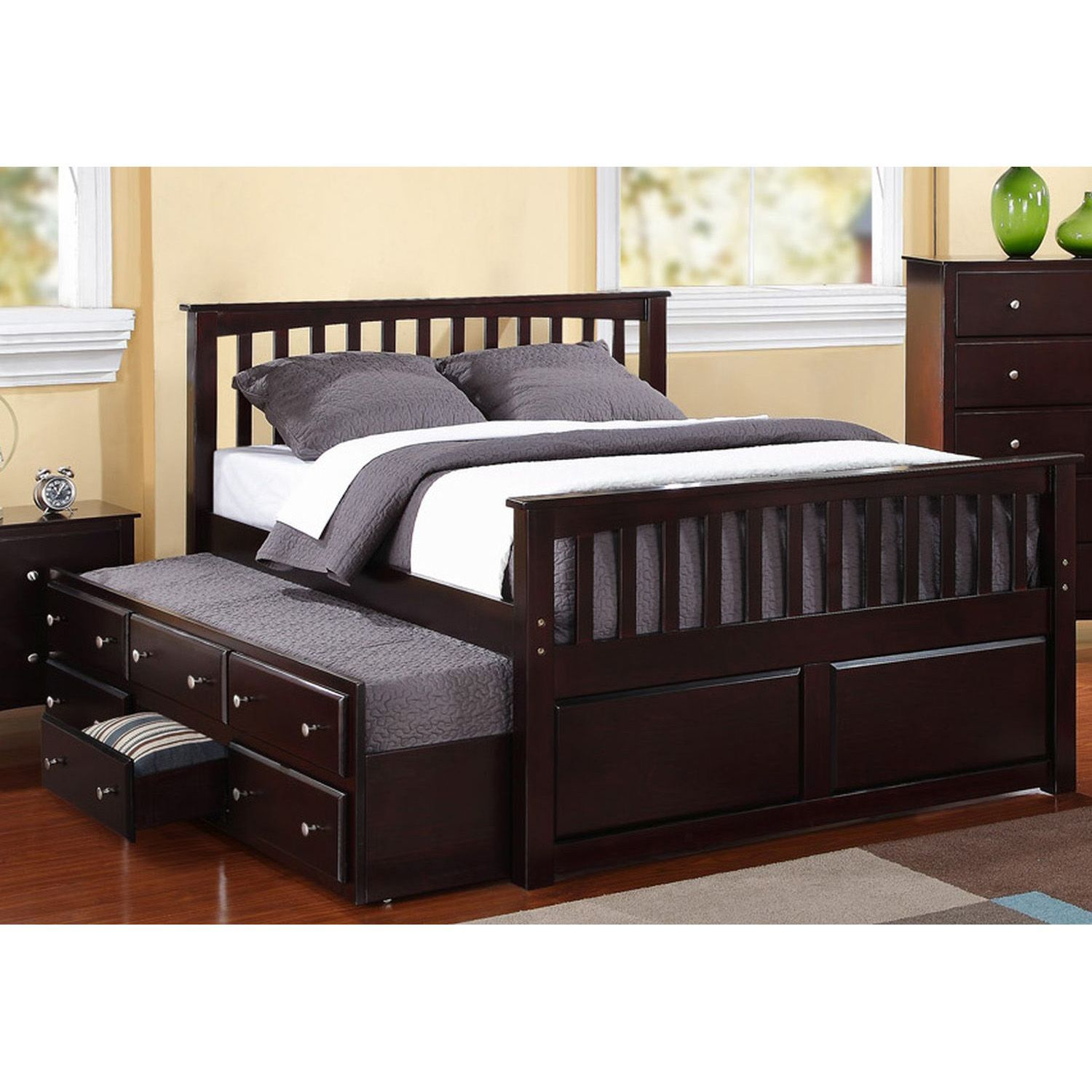 Seaham Captain Bed With Twin Trundle And Storage Drawers Sam S