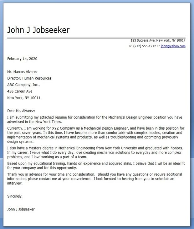 Great Cover Letter Mechanical Designer Sample